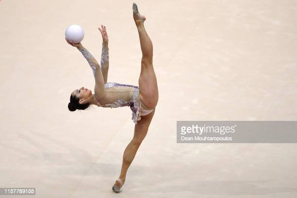 Katsiaryna Halkina of Belarus competes in the Rhythmic Gymnastics Women's Ball Finals during the 2nd European Games held in the Minsk Arena on June...