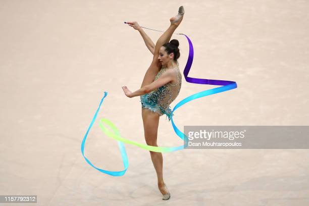 Katsiaryna Halkina of Belarus competes in the Rhythmic Gymnastics Women's Ribbon Finals during the 2nd European Games held in the Minsk Arena on June...