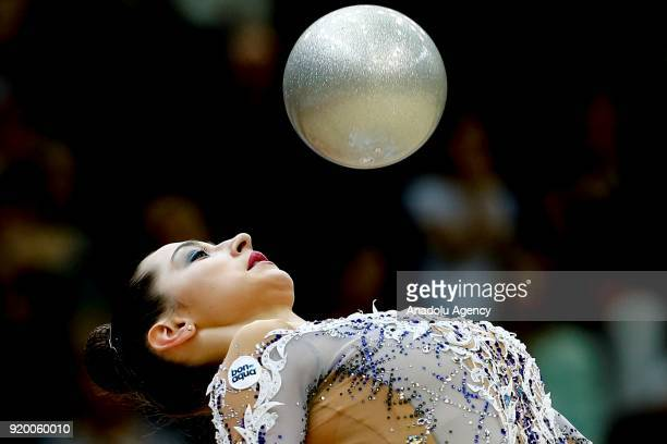 Katsiaryna Halkina of Belerus performs during the 2018 Moscow Rhythmic Gymnastics Grand Prix GAZPROM Cup in Moscow Russia on February 18 2018
