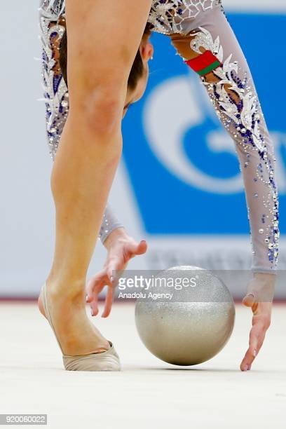 Katsiaryna Halkina of Belerus performs during the 2018 Moscow Rhythmic Gymnastics Grand Prix GAZPROM Cup in Moscow, Russia on February 18, 2018.