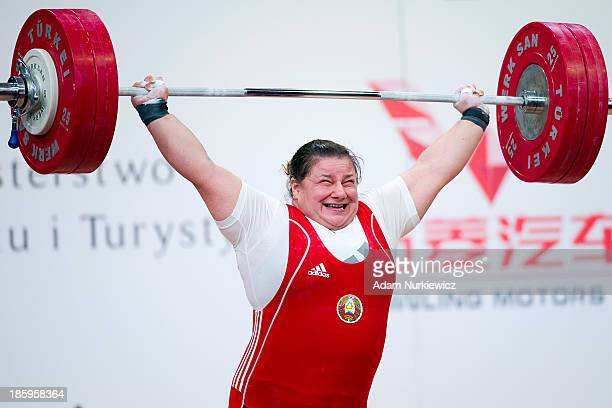 Katsiaryna Shkuratava from Belarus lifts in the Snatch competition women's 75 kg Group A during weightlifting IWF World Championships Wroclaw 2013 at...
