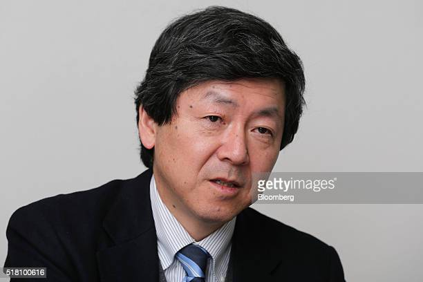 Katsumi Adachi senior chief engineer of the automotive equipment division at Mitsubishi Electric Corp speaks during an interview in Ako Hyogo...