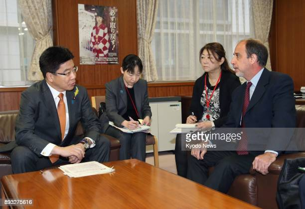 Katsunobu Kato Japan's minister in charge of the North Korean abduction issue and Tomas Ojea Quintana the UN special rapporteur on North Korean human...