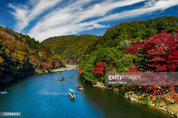 katsura river in autumn aerial view. kyoto, japan. - kyoto city stock pictures, royalty-free photos & images