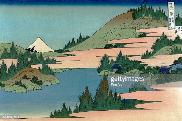 Katsushika Hokusai 17601849 Date Created/Published between 1890 and 1940 Color woodcut Print shows a serene mountain lake with a view of Mount Fuji...