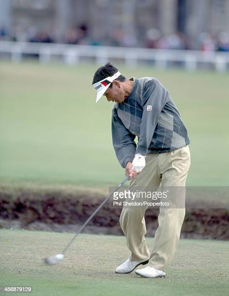 Katsuyoshi Tomori of Japan teeing off during the British Open Golf Championship held at the St Andrews Golf Course Scotland circa July 1995