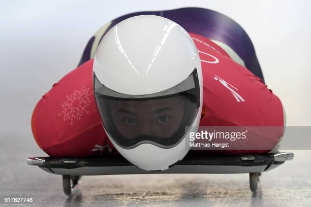 Katsuyuki Miyajima of Japan trains during the Mens Skeleton training session on day four of the PyeongChang 2018 Winter Olympic Games at Olympic...