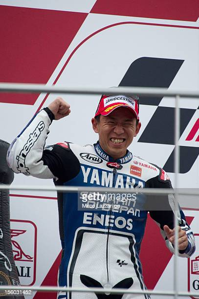 Katsuyuki Nakasuga of Japan and Yamaha Factory Racing celebrates finishing in second place on the podium at the end of the MotoGP race of the MotoGP...