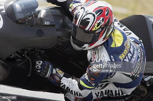 Katsuyuki Nakasuga of Japan and Yamaha Factory Test Team rounds the bend during the MotoGP Tests in Sepang Day One at Sepang Circuit on February 23...
