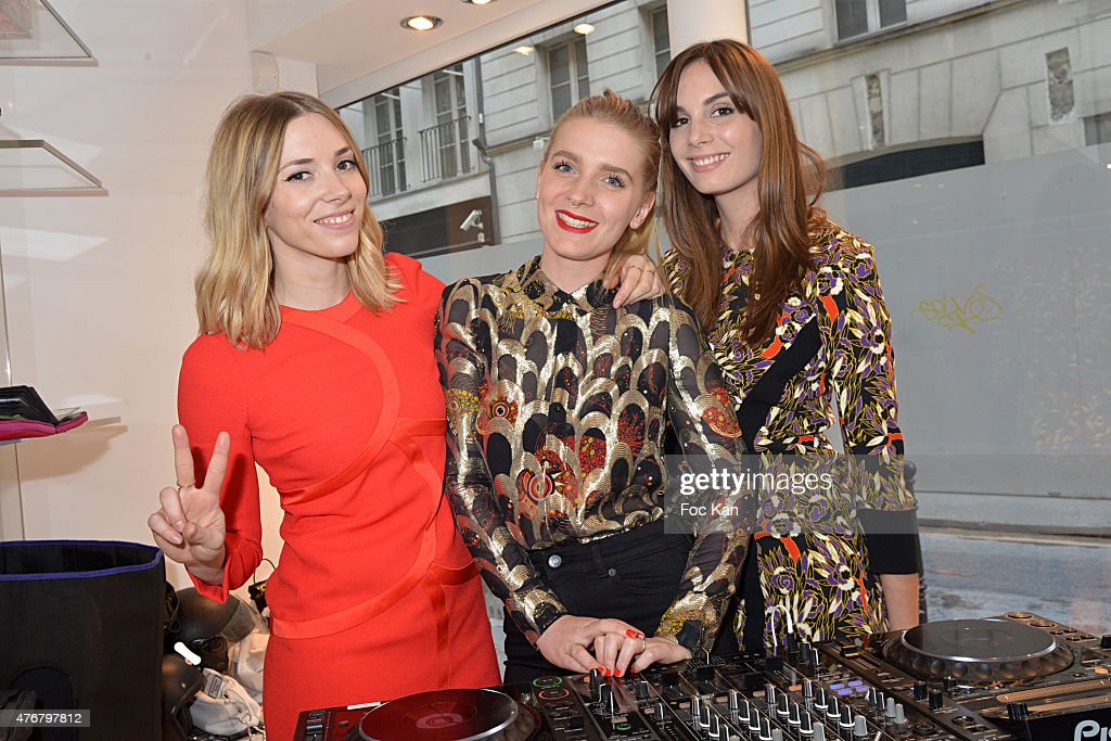 Katty Besnard, Anais Vandevyvere and Louise Basilien from the Plastiscines band perform at the John Galliano Shop during the British 'Summer Time 2015' :Cocktail At the British Embassy And Shops Events Rue du Faubourg Saint Honore on June 11, 2015 in Paris, France.