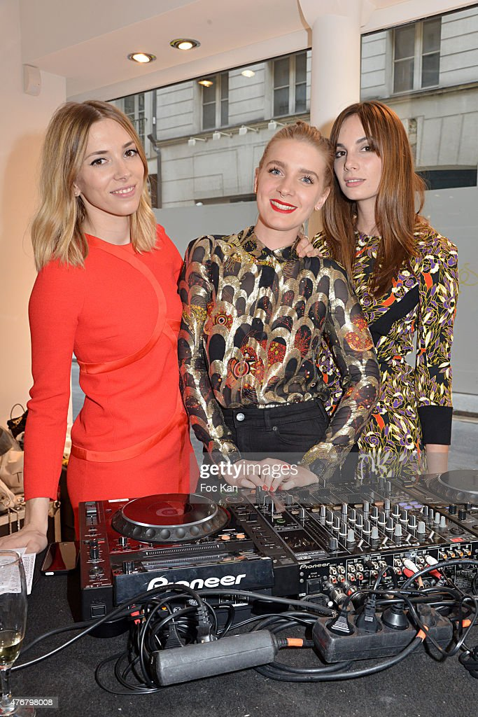 Katty Besnard, Anais Vandevyvere and Louise Basilien from the Plastiscines band perform at the John Galliano Shop during the British 'Summer Time 2015' cocktail at the British Embassy and shops events Rue du Faubourg Saint Honore on June 11, 2015 in Paris, France.