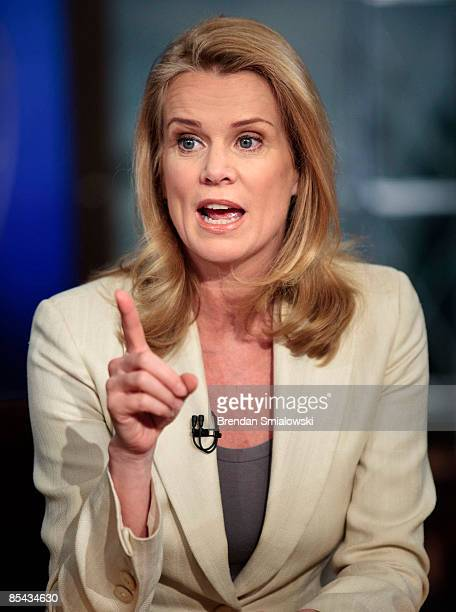 Katty Kay Washington Correspondent for BBC World News America speaks during a live taping of 'Meet the Press' at NBC studios March 15 2009 in...