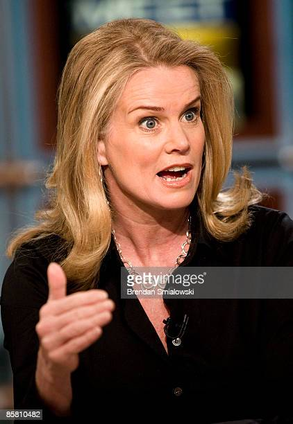 Katty Kay Washington Correspondent for the BBC World News America speaks during a live taping of Meet the Press at NBC studios April 5 2009 in...