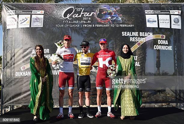 Katusha Team leader Alexander Kristoff , Dimension Data team leader Britain's Mark Cavendish and Katusha Viacheslav Kuznetsov pose on the podium...