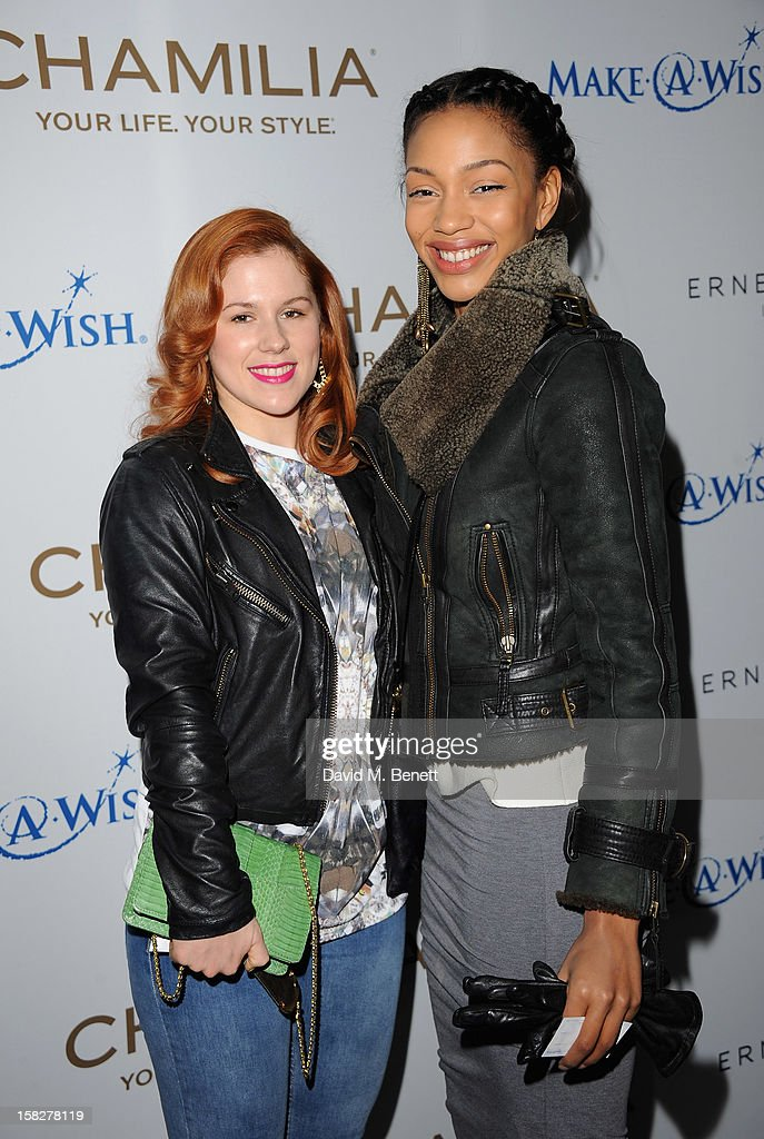 Katy B (L) and guest attend a champagne reception celebrating the launch of Chamilia and Ernest Jones' partnership with Make-A-Wish International at the Corinthia Hotel on December 12, 2012 in London, England.