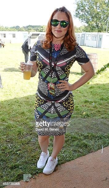Katy B attends the Mahiki Rum Bar for the launch of the Mahiki Rum Family backstage during day 2 of the V Festival 2014 at Hylands Park on August 17...