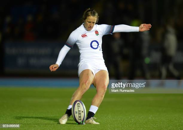 Katy DaleyMcLean of England kicks a conversion during the Natwest Women's Six Nations match between Scotland Women and England Women at Scotstoun...