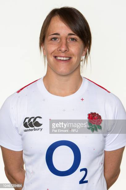 Katy Daly-Mclean of England poses for a portrait during the England Women's Squad photo call at Loughborough University on October 6, 2018 in...