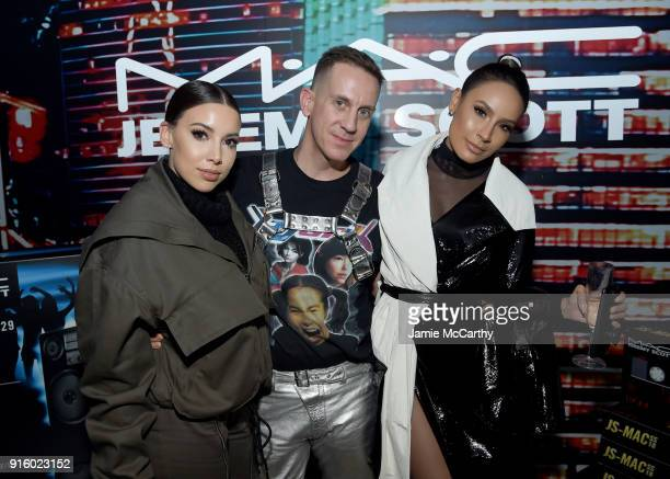 Katy DeGroot Jeremy Scott and Desi Perkins attend the MAC Cosmetics Jeremy Scott Collaboration on February 8 2018 in New York City