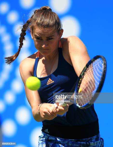 Katy Dunne of Great Britain hits a backhand during the qualifying match against Ankita Raina of India at Edgbaston Priory Club on June 17 2017 in...