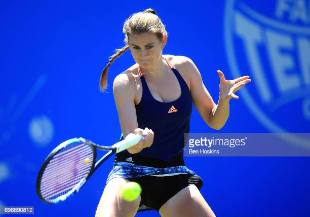 Katy Dunne of Great Britain hits a forehand during the qualifying match against Ankita Raina of India at Edgbaston Priory Club on June 17 2017 in...