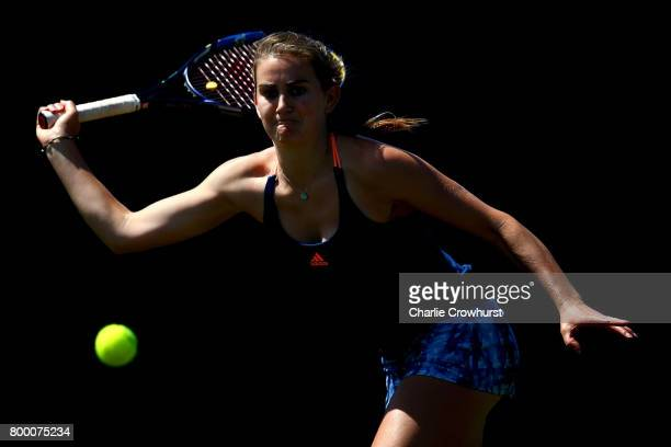 Katy Dunne of Great Britain in action during her women's qualifying match against Duan YingYing of China during qualifying on day one of the Aegon...