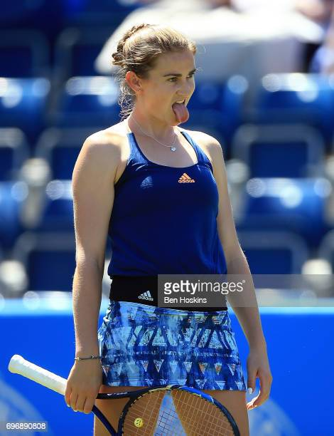 Katy Dunne of Great Britain reacts during the qualifying match against Ankita Raina of India at Edgbaston Priory Club on June 17 2017 in Birmingham...