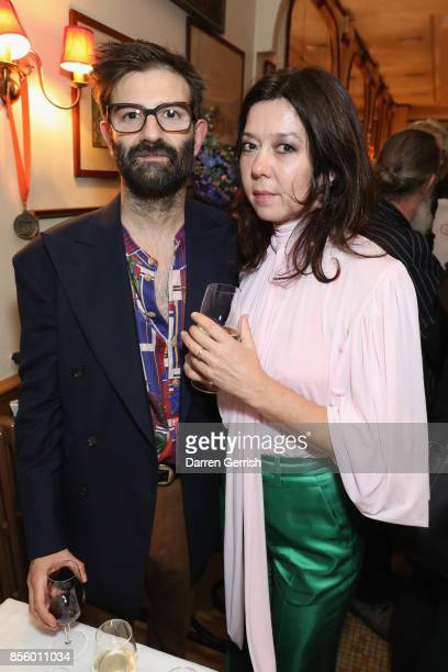 Katy England and Christopher Di Pietro attend a dinner in Paris to celebrate Another Magazine A/W17 hosted by Vivienne Westwood, Andreas Kronthaler,...