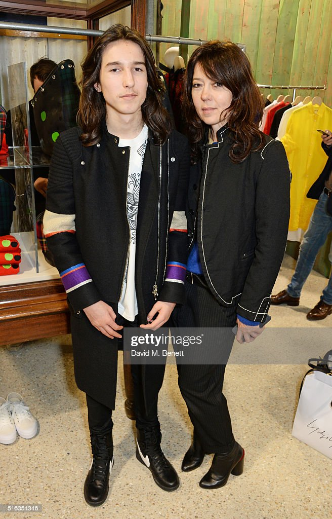Katy England (R) and son Wolf Gillespie attend an exclusive VIP preview of the Dover Street Market on March 18, 2016 in London, England.