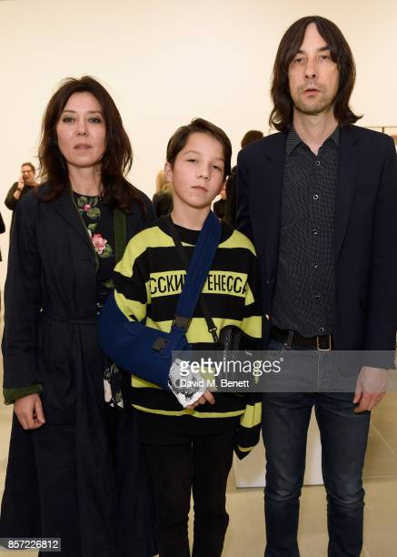 Katy England Lux Gillespie and Bobby Gillespie attend the private view of The Disasters of Everyday Life by Jake Dinos Chapman at Blain|Southern on...