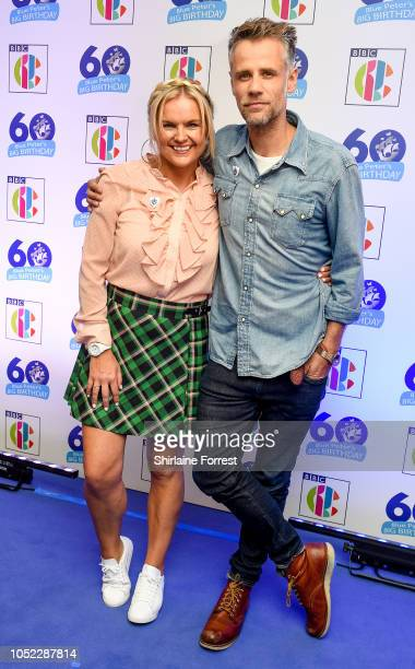 Katy Hill and Richard Bacon attend the 'Blue Peter Big Birthday' celebration at BBC Philharmonic Studio on October 16 2018 in Manchester England