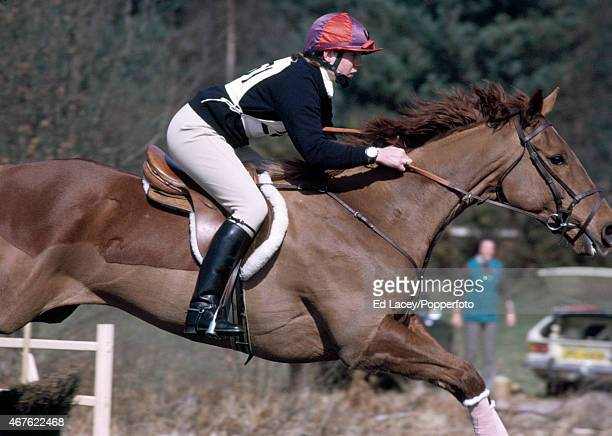 Katy Hill of Great Britain riding Day Return in action during the Steeplechase section of the Crookham Horse Trials at The Tweseldown Racecourse in...