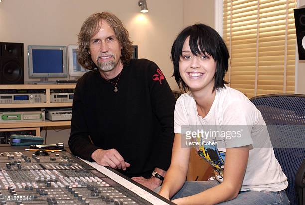Katy Hudson AKA Katy Perry and producer Glen Ballard pose during a portrait session on September 25 2002 in West Hollywood California