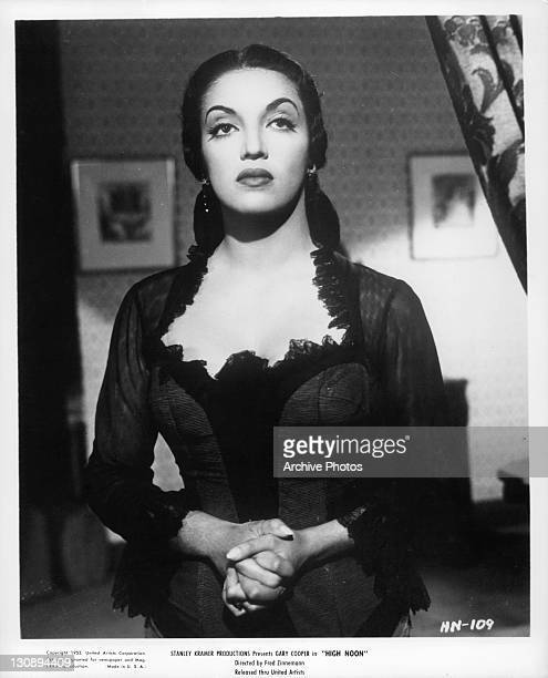 Katy Jurado holding her hands in a scene from the film 'High Noon' 1952