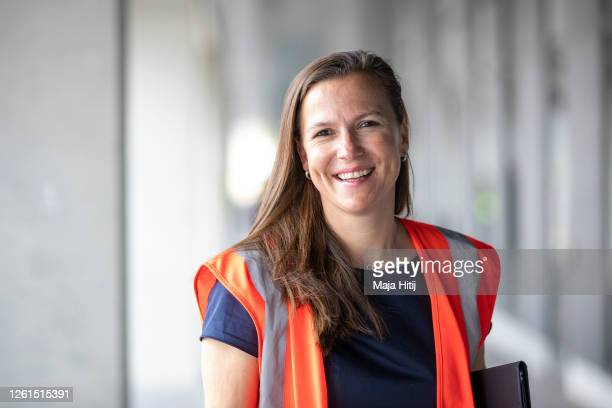 Katy Krüger, terminal manager poses for a portrait during a trial run of the baggage system at Berlin Brandenburg Airport ahead of the new airport's...