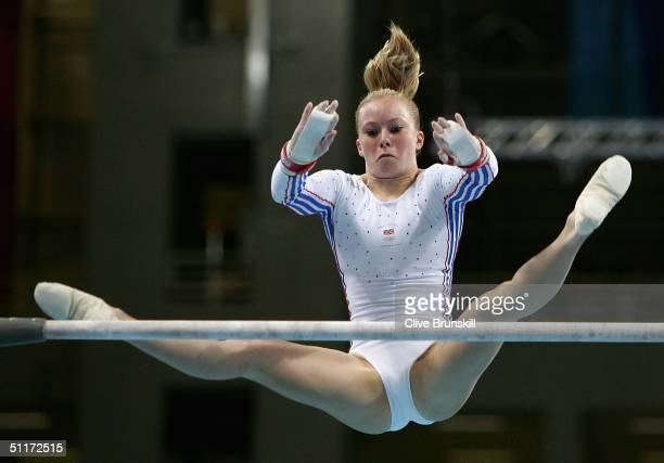 Katy Lennon of Great Britain competes in the qualification round of the team event at the women's artistic gymnastics competition on August 15 2004...