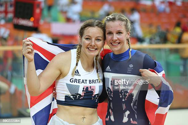 Katy Marchant and Rebecca James pose after finishing second and third in the Women's Sprint final at Rio Olympic Velodrome on August 16 2016 in Rio...
