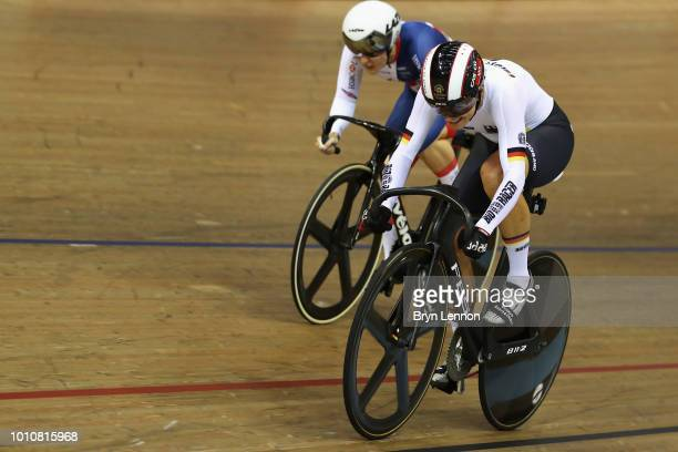 Katy Marchant of Great Britain and Miriam Welte of Germany compete in the Sprint Women 1/8 final on Day 3 of the European Championships Glasgow 2018...