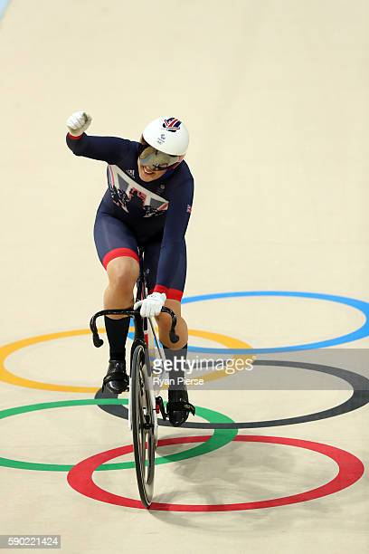 Katy Marchant of Great Britain celebrates winning bronze during the Women's Sprint Finals bronze medal race against Elis Ligtlee of the Netherlands...