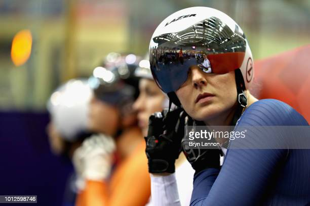 Katy Marchant of Great Britain prepares to compete in the second round of the Women's Keirin during the track cycling on Day Six of the European...