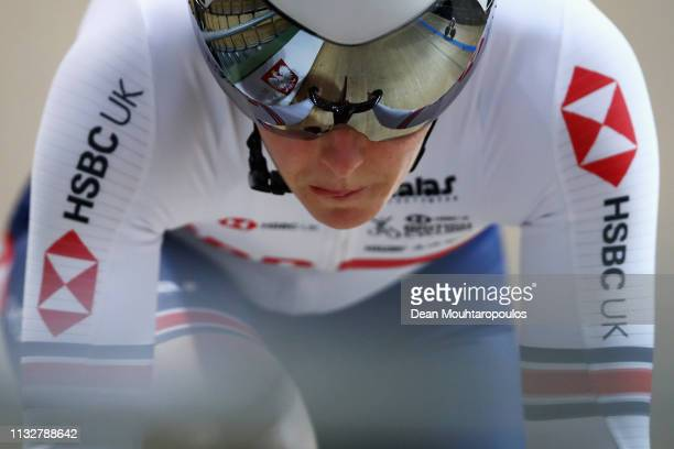 Katy Marchant of Team GB or Great Britain competes in the Women's Sprint Qualifying on day two of the UCI Track Cycling World Championships held in...