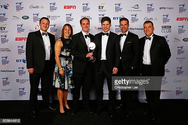 Katy McLean and Gethin Jones present the Best Sponsorship of Event or Competition in association with ICON to Land Rover #WeDealInReal at the BT...