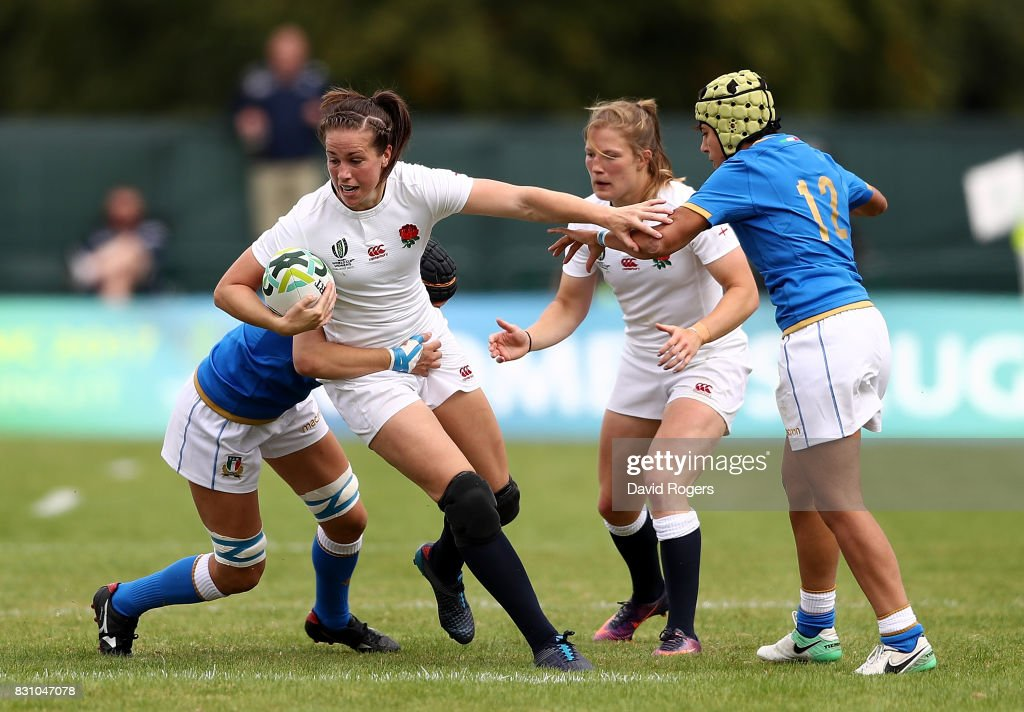 Katy Mclean of England is tackled during the Women's Rugby World Cup 2017 between England and Italy on August 13, 2017 in Dublin, Ireland.