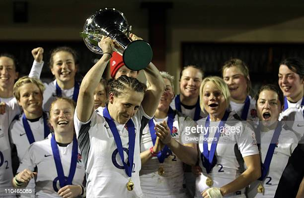Katy McLean the England captain holds the Six Nations trophy after their Grand Slam win the victory in the Womens Six Nations match between Ireland...