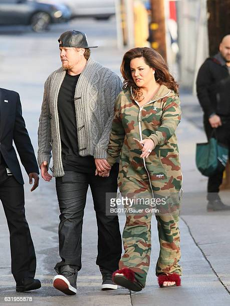 Katy Mixon and Breaux Greer are seen arriving at 'Jimmy Kimmel Live' on January 17 2017 in Los Angeles California