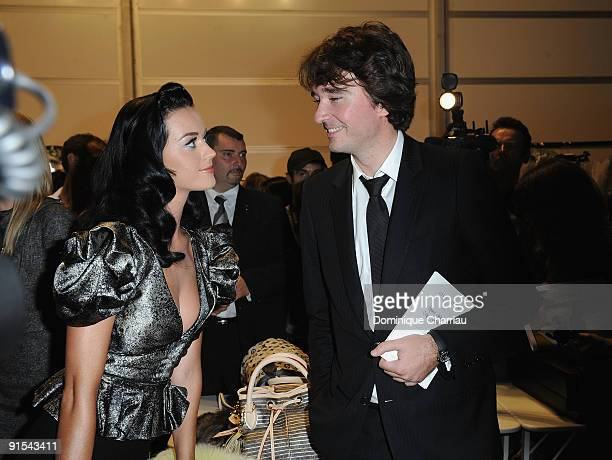 Katy Perry and Antoine Arnault pose backstage during the Louis Vuitton Pret a Porter show as part of the Paris Womenswear Fashion Week Spring/Summer...