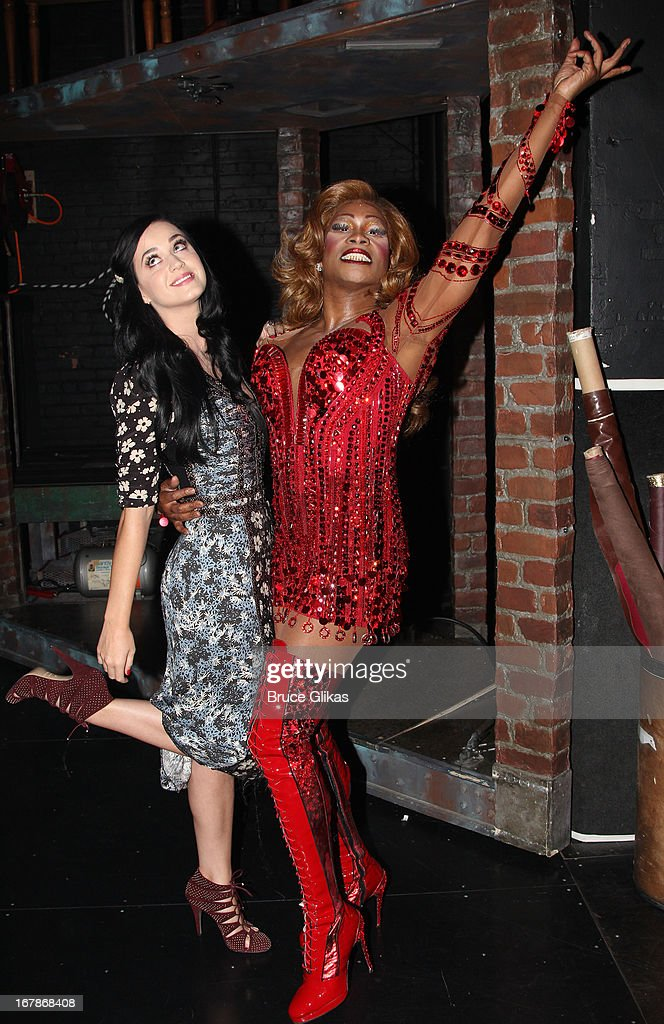 Katy Perry and Billy Porter as 'Lola' pose backstage at the Tony Nominated hit musical 'Kinky Boots' on Broadway at The Al Hirshfeld Theater on May 1, 2013 in New York City.