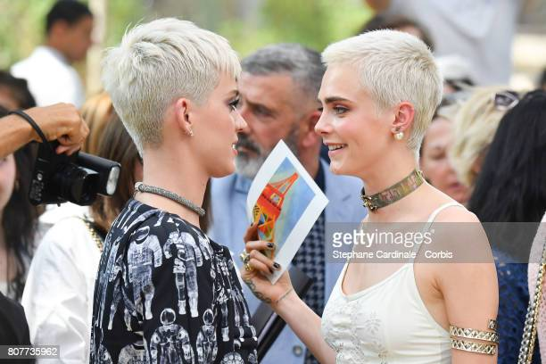 Katy Perry and Cara Delevingne attend the Chanel Haute Couture Fall/Winter 20172018 show as part of Haute Couture Paris Fashion Week on July 4 2017...