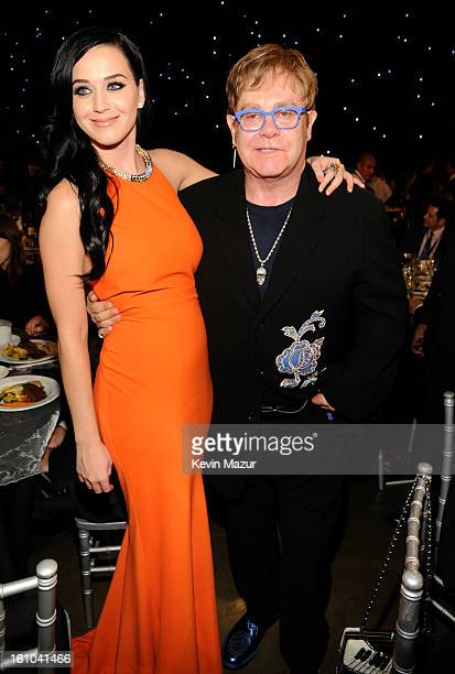 Katy Perry and Elton John attend MusiCares Person Of The Year Honoring Bruce Springsteen at Los Angeles Convention Center on February 8, 2013 in Los...
