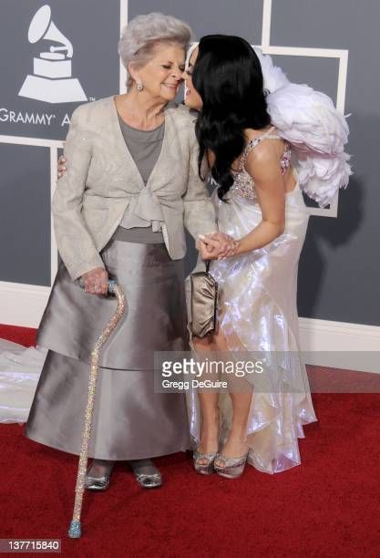 Katy Perry and grandmother Ann Hudson arrive for the 53rd Annual GRAMMY Awards at the Staples Center February 13 2011 in Los Angeles California